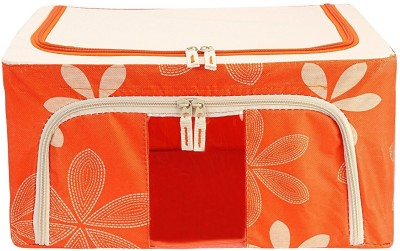 BlushBees Foldable Wardrobe Cloth Organizer Bag   24 Litre Capacity Orange BlushBees Garment Covers