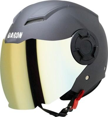 Steelbird Baron Open Face Helmet, ISI Certified Helmet in Matt H.Grey with Gold Visor Motorbike Helmet(Matt H.Grey with Chrome Gold...