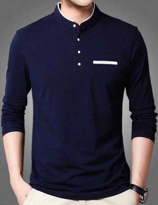 FastColors Solid Men Mandarin Collar White, Blue T-Shirt