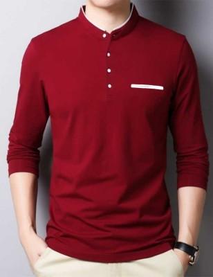 FastColors Solid Men Mandarin Collar White, Maroon T-Shirt