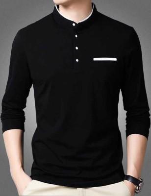 FastColors Solid Men Mandarin Collar White, Black T-Shirt
