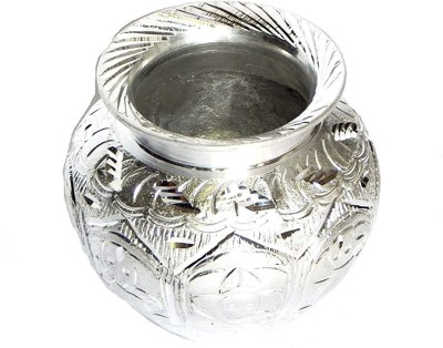 Zoltamulata Big Size German Silver White Metal Ganapati and Other Sacred Symbols Engraved Kalash for Pooja Chambu Kalash handmande Item Suitable for Home with Height 4.5 inch Weight 585gm Silver Plated Kalash(Silver)