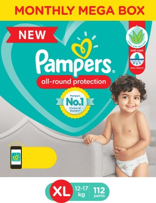 Pampers Diaper Pants Monthly Box Pack Lotion with Aloe Vera - XL(112 Pieces)