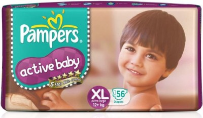 Pampers Active Baby Diapers Taped XL Size (Extra Large) 56 Pads (56 Pieces)