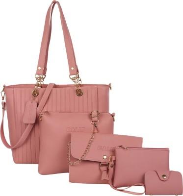 GALIP Women Pink Hand-held Bag(Pack of: 5)