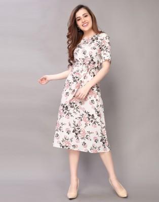 Selvia Women A-line White Dress