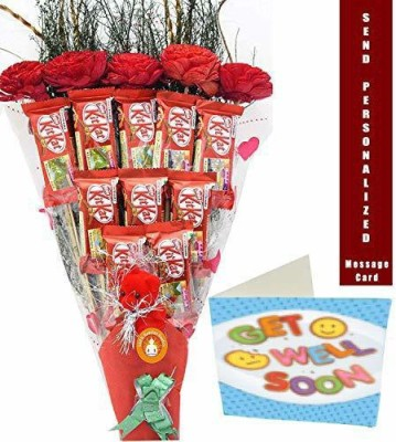 Holy Krishna Bouquet of Nestle Kitkat Chocolate Pack of 10 with Soft Toy & Get Well Soon Message Card + Laxmi ATM Card(All Items As Shown in Image) Plastic Gift Box(Multicolor)