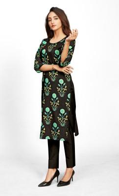 TexStile Women Floral Print Straight Kurta(Black)