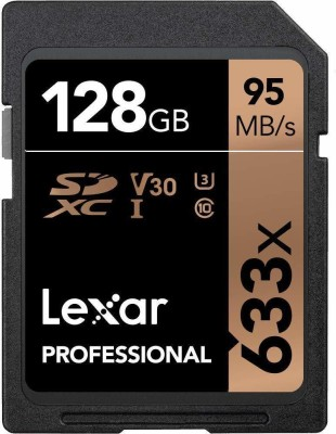 Lexar 633X 128  GB SDXC Class 10 95 MB/s Memory Card Lexar Memory Cards