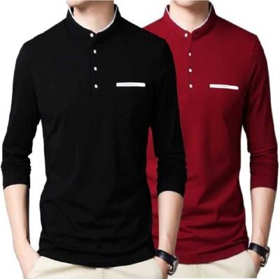 FastColors Solid Men Mandarin Collar Maroon T-Shirt(Pack of 2)