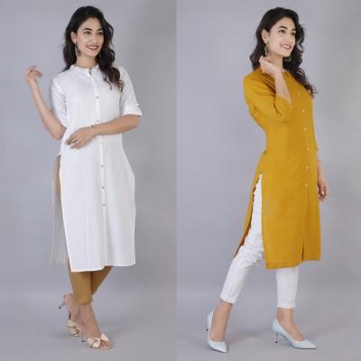 Rimeline Women Solid Straight Kurta(White, Yellow)