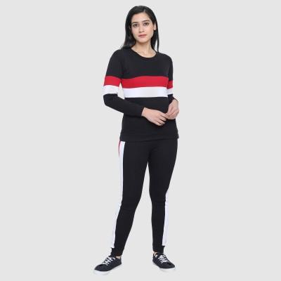 Shocknshop Striped, Solid Women Track Suit
