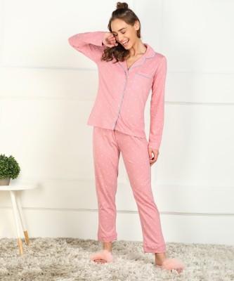 DreamBe Women Polka Print White, Pink Shirt & Pyjama set