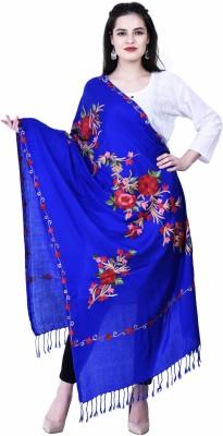 swi stylish Wool Embroidered Women Shawl(Blue)