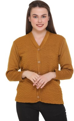 eWools Self Design V Neck Casual Women Gold Sweater