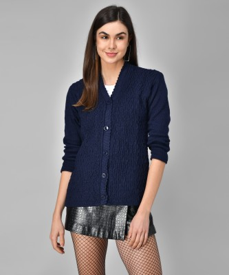 eWools Self Design V-neck Casual Women Dark Blue Sweater