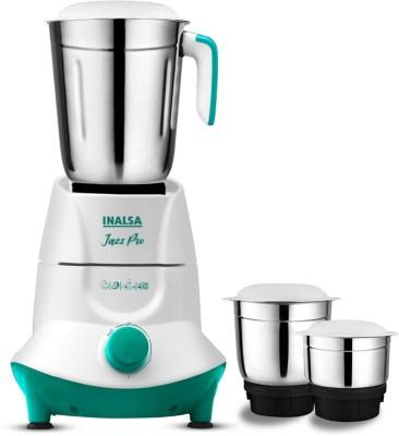 Inalsa Jazz Pro 550 Mixer Grinder (3 Jars, White, Green)
