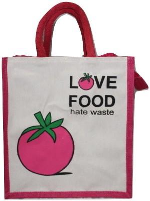 Poorvi Jute lunch bag Lunch Bag Pink, 11 inch Poorvi Bags, Wallets   Belts