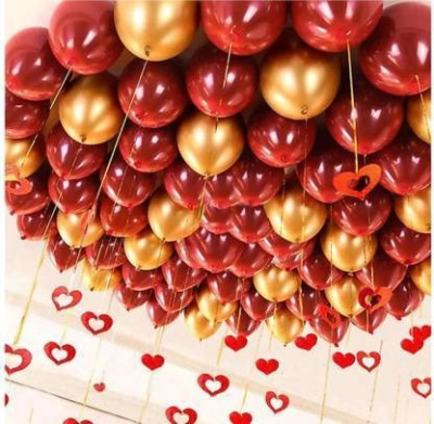Eos Printed Solid Metallic Red & Golden balloons Magic Balloon(Red, Gold, Pack of 50)