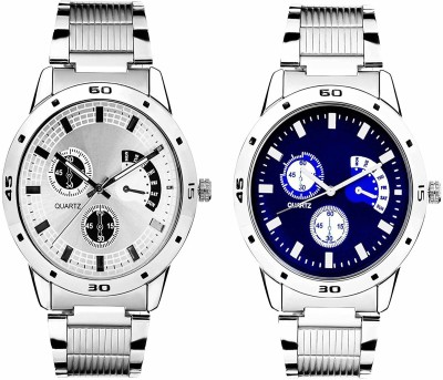 Varni Retail Latest wave white and blue dial steel strap watches for men and boys Watches::Girls Watches::Boy Watches Analog Watch   For Men Varni Ret