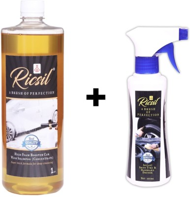 RICSIL High Foam Booster Car Shampoo Concentrate Solution  Lemon   1L , Tyre   Dashboard Liquid Polish  250ml  Combo