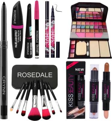 Crynn Smudge Proof Essentials Makeup HD17 Beauty Kajal & Concealer Highlighter Contour Stick & Yanqina 36H Deep Black Eyeliner & 3in1 Eyeliner , Mascara , Eyebrow Pencil &Set of 7 Brush & TYA 6155 Signature Makeup Kit(14 Items in the set)