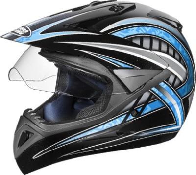 STUDDS Motocross D2 Decor Motorbike Helmet(Black N1 Blue)