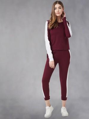 THE DRY STATE Women Solid Maroon Top & Pyjama Set