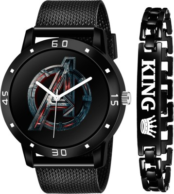 CRAB NEW STYLISH DIAL- PU STRAP & BLACK KING BRACELET COMBO SET FOR MEN Analog Watch - For Boys