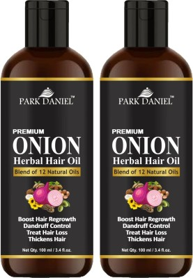 PARK DANIEL Premium ONION Herbal Hair oil- For Hair Regrowth, Anti Dandruff, Treat hair loss and Thickens hairs pack of two bottles of 100 ml(200 ml) Hair Oil(200 ml)