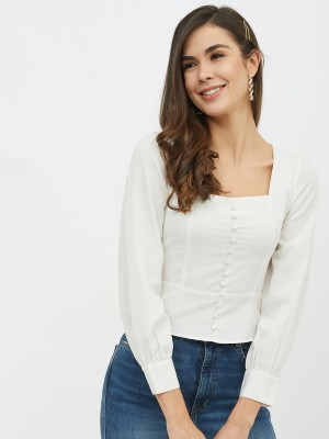 HARPA Casual 3/4 Sleeve Solid Women White Top