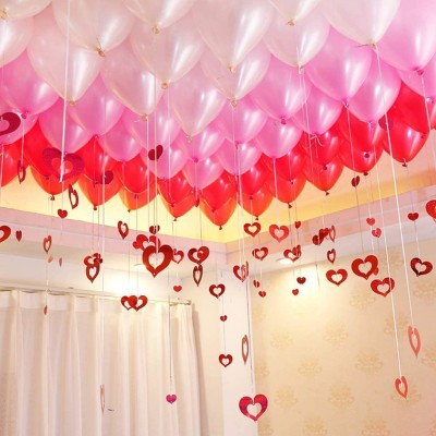 AMFIN Solid Pink , Red & White Metallic Balloons with Curling Ribbon for 1st Birthday Party Decorations , Welcome Baby Decoration , Bachelors Party , Diwali , New Year Party, Office Party , Christmas Decoration Items Balloon(Pink, Red, White, Pack of 100)