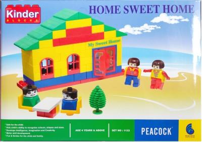 Peacock Kinder Blocks Home Sweet Home Set No. 1133 Building Blocks for kids Multicolor Peacock Blocks   Building Sets