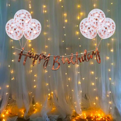 CAKESHALA Solid Rose Gold Birthday Decoration Items Kit- 10Pcs Bday Banner Confetti Balloon with Led Light for Kids, Girls, Wife Bday Decorations Items with Fairy Lights Balloon(Gold, Pack of 10)