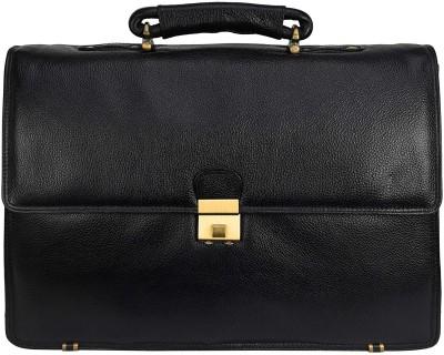 Leather Villa Leather Laptop Men's Briefcase Bag for Office Use Detachable Laptop Compartment Switzerland Security Lock Closure Color Black Medium...