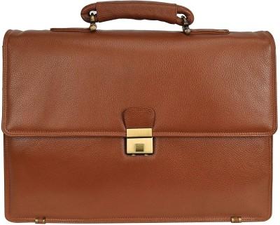 Leather Villa Leather Laptop Men's Briefcase Bag for Office Use Detachable Laptop Compartment Switzerland Security Lock Closure Color TAN Medium...
