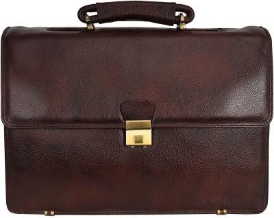 Leather Villa Leather Laptop Men's Briefcase Bag for Office Use Detachable Laptop Compartment Switzerland Security Lock Closure Color Brown Medium...