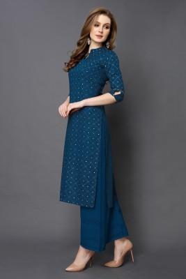 SAARA Women Printed Straight Kurta(Dark Blue)