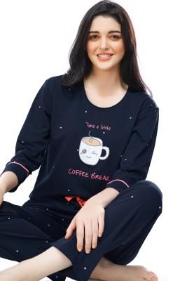 ZEYO Women Printed Blue Top & Pyjama Set