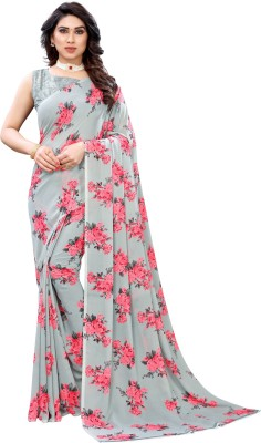 SAARA Floral Print, Printed Bollywood Georgette Saree(Grey)