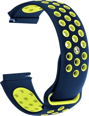 ACM Watch Strap Silicone Belt 20mm forAmazfit Bip S ( Smartwatch Sports Dot Band Blue with Yellow) Smart Watch Strap(Blue,...