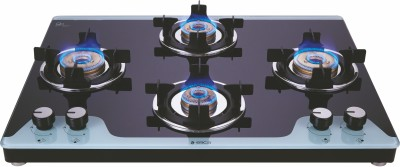 Elica Slimmest 4 Burner Gas Stove with Double Drip Tray and Forged Brass Burners Glass Manual Stove(4 Burners)
