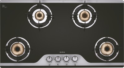 Elica Slimmest 4 Burner Auto Ignition Gas Stove with Double Drip Tray and Forged Brass Burners Glass Automatic Stove(4 Burners)