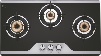 Elica Slimmest 3 Burner Auto Ignition Gas Stove with Double Drip Tray and Forged Brass Burners Glass Automatic Stove(3 Burners)