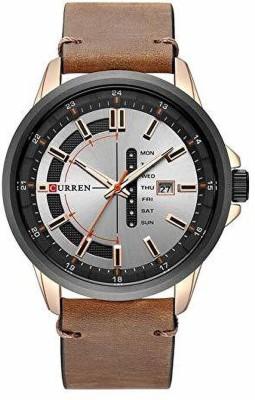 Navmi Analogue Date Clock Quartz Steel Dial Leather Sports Military Men