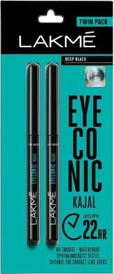 Lakmé Eyeconic Kajal Twin Pack(Deep Black, 0.7 g)