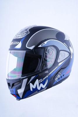 HEADFOX HY SMART BLUETOOTH H3 Blue Motorbike Helmet(Blue, Black, White)