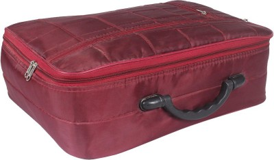 PrettyKrafts Synthetic maroon Portable Foldable Luggage Traveling Suitcase - Maroon Medium Briefcase - For Men & Women(Maroon)
