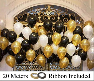 Decor My Party Solid 10 Inch Black , Golden & White Metallic Balloons for 1st Birthday Party Decorations , Welcome Baby Decoration , Bachelors Party , Office Party , Diwali , New Year Party, Christmas Decoration Items Balloon(Gold, Black, White, Pack of 50)
