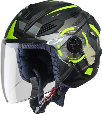 Steelbird SBA-6 7Wings Gravity Open Face Helmet, ISI Certified Helmet Motorbike Helmet(Matt Black Neon with Clear Visor)